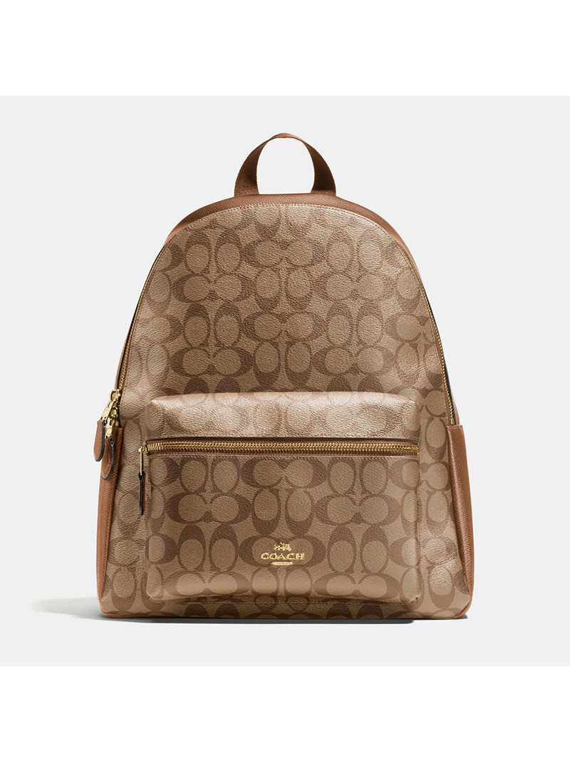 Coach Charlie Backpack in Signature Canvas Khaki