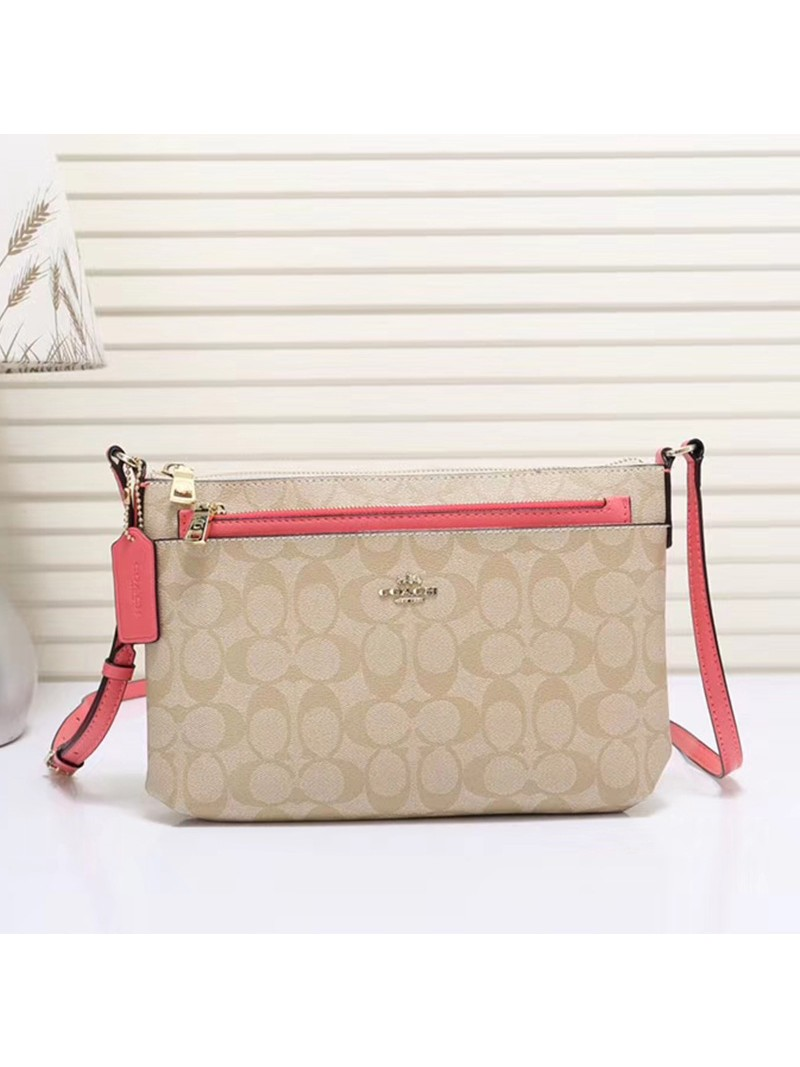 Coach East West Corssbody with Pop UP Pouch In Signature Canvas Beige/Pink
