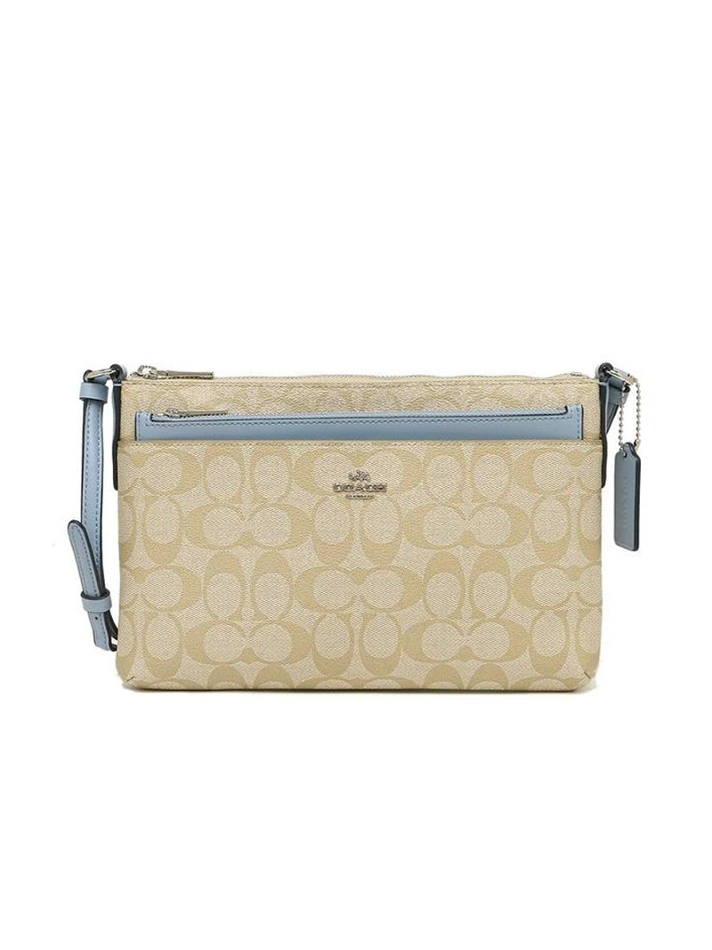 Coach East West Corssbody with Pop UP Pouch In Signature Canvas Beige/Sky Blue