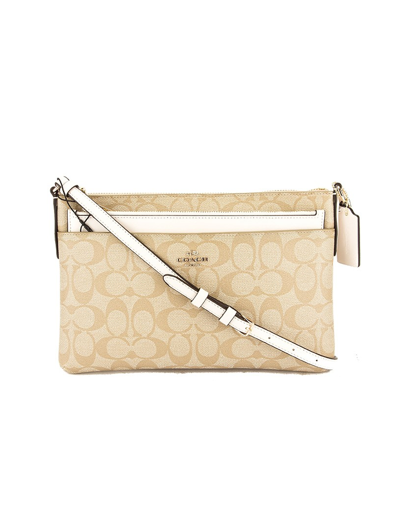 Coach East West Corssbody with Pop UP Pouch In Signature Canvas Beige/White