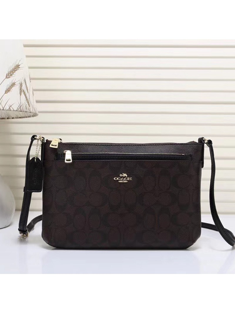 Coach East West Corssbody with Pop UP Pouch In Signature Canvas Coffee/Black