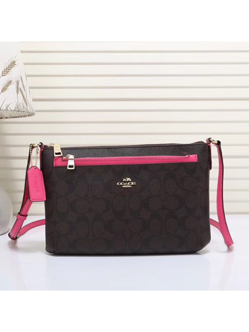 Coach East West Corssbody with Pop UP Pouch In Signature Canvas Coffee/Rose
