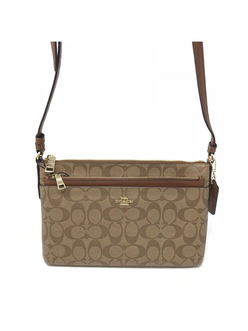 Coach East West Corssbody with Pop UP Pouch In Signature Canvas Khaki/Brown