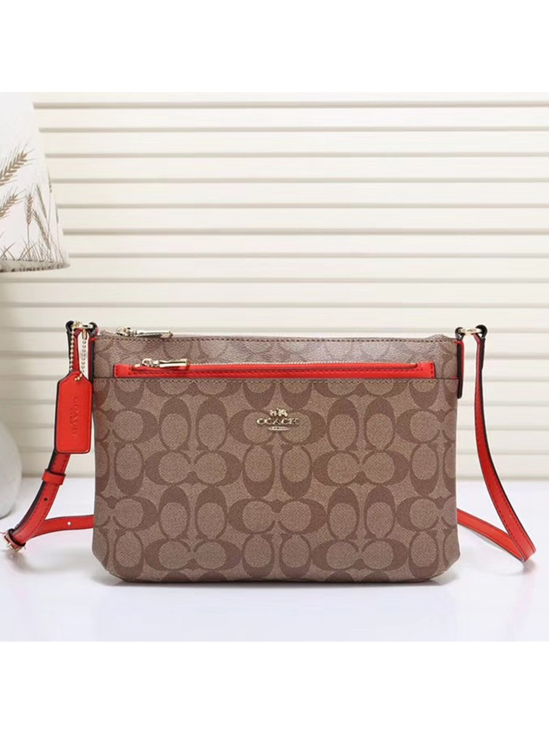 Coach East West Corssbody with Pop UP Pouch In Signature Canvas Khaki/Red