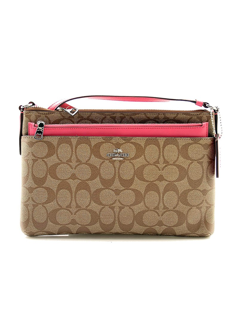 Coach East West Corssbody with Pop UP Pouch In Signature Canvas Khaki/Rose