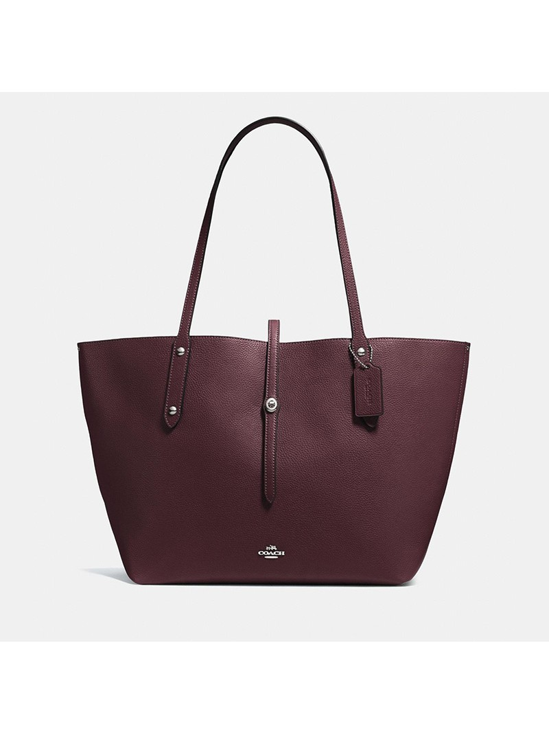 Coach Market Tote In Pebble Leather Burgundy