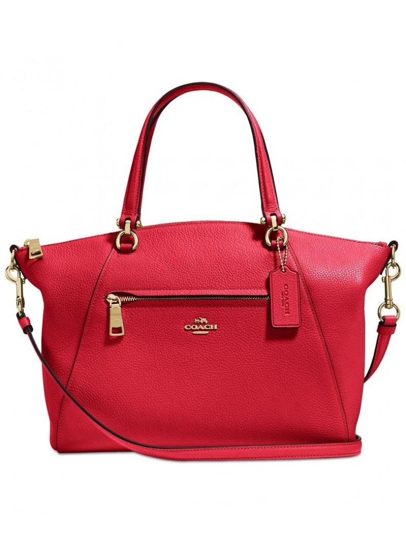 Coach Prairie Satchel in Pebble Leather Red