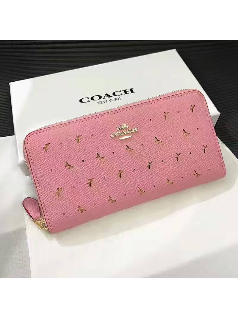 Coach Accordion Zip Wallet in Perforated Crossgrain Leather Pink