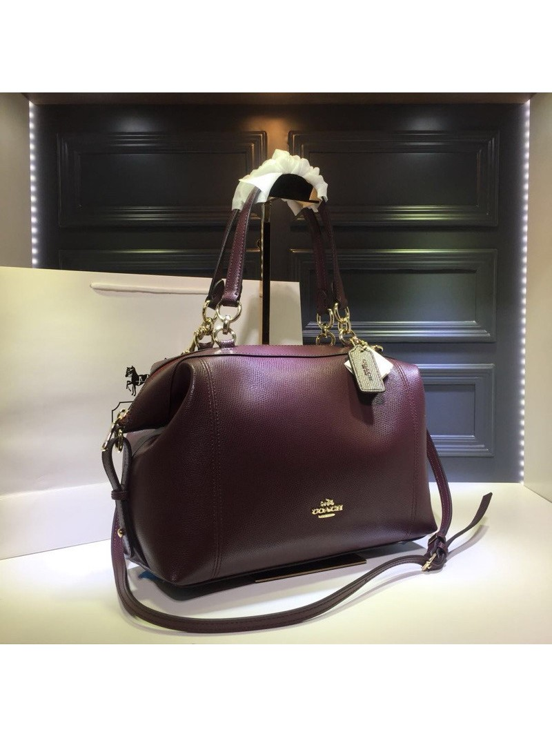 Coach Lenox Satchel in Pebble Leather Burgundy