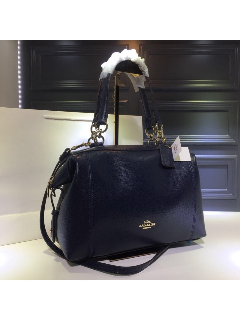 Coach Lenox Satchel in Pebble Leather Navy Blue