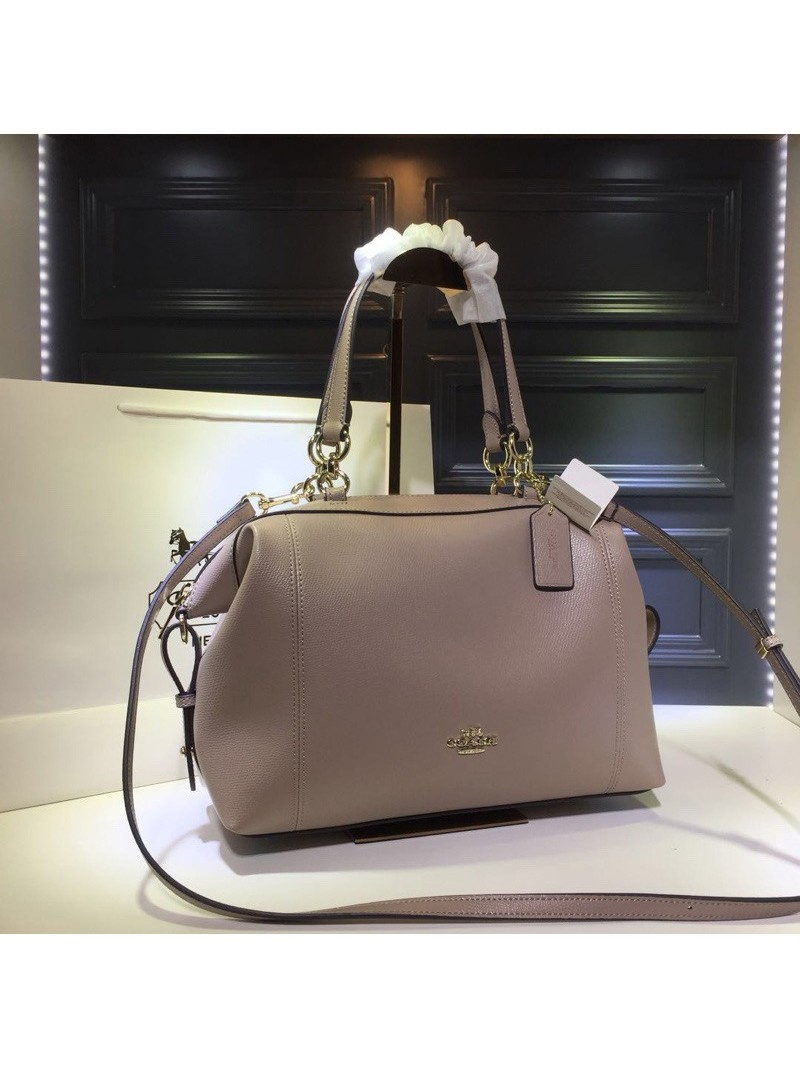 Coach Lenox Satchel in Pebble Leather Nude