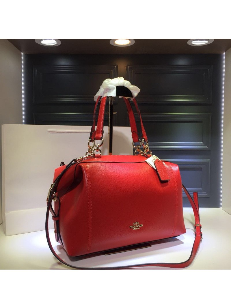 Coach Lenox Satchel in Pebble Leather Red