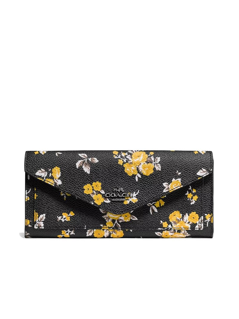 Coach Large Bifold Wallet with Floral Bundle Print in Coated Canvas Black