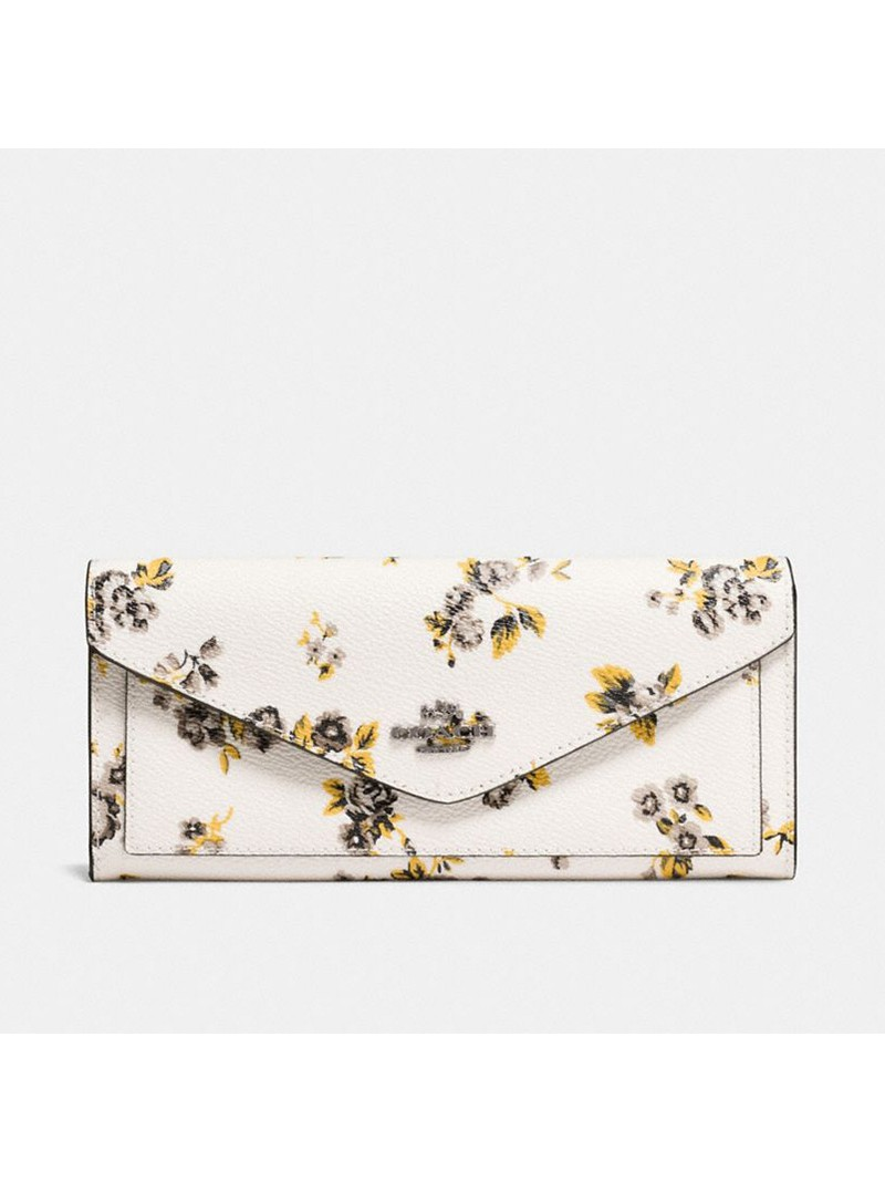 Coach Large Bifold Wallet with Floral Bundle Print in Coated Canvas White