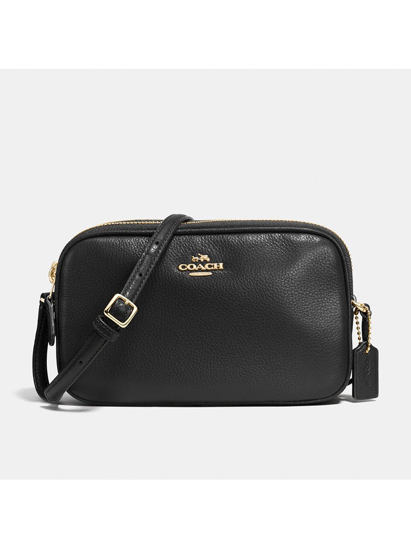 Coach Crossbody Pouch in Pebble Leather Black