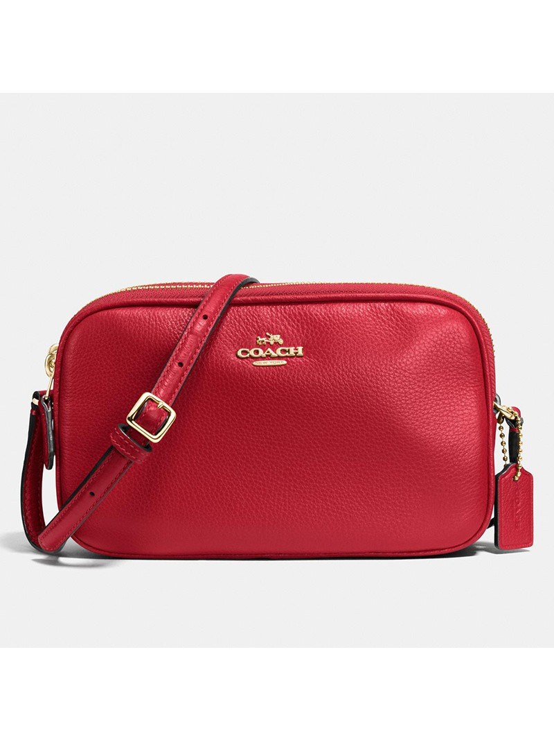 Coach Crossbody Pouch in Pebble Leather Red