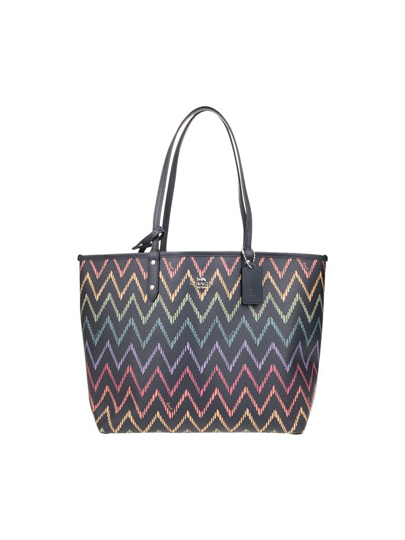 Coach City Reversible Tote with Geo Chevron Print In Signature Canvas Black