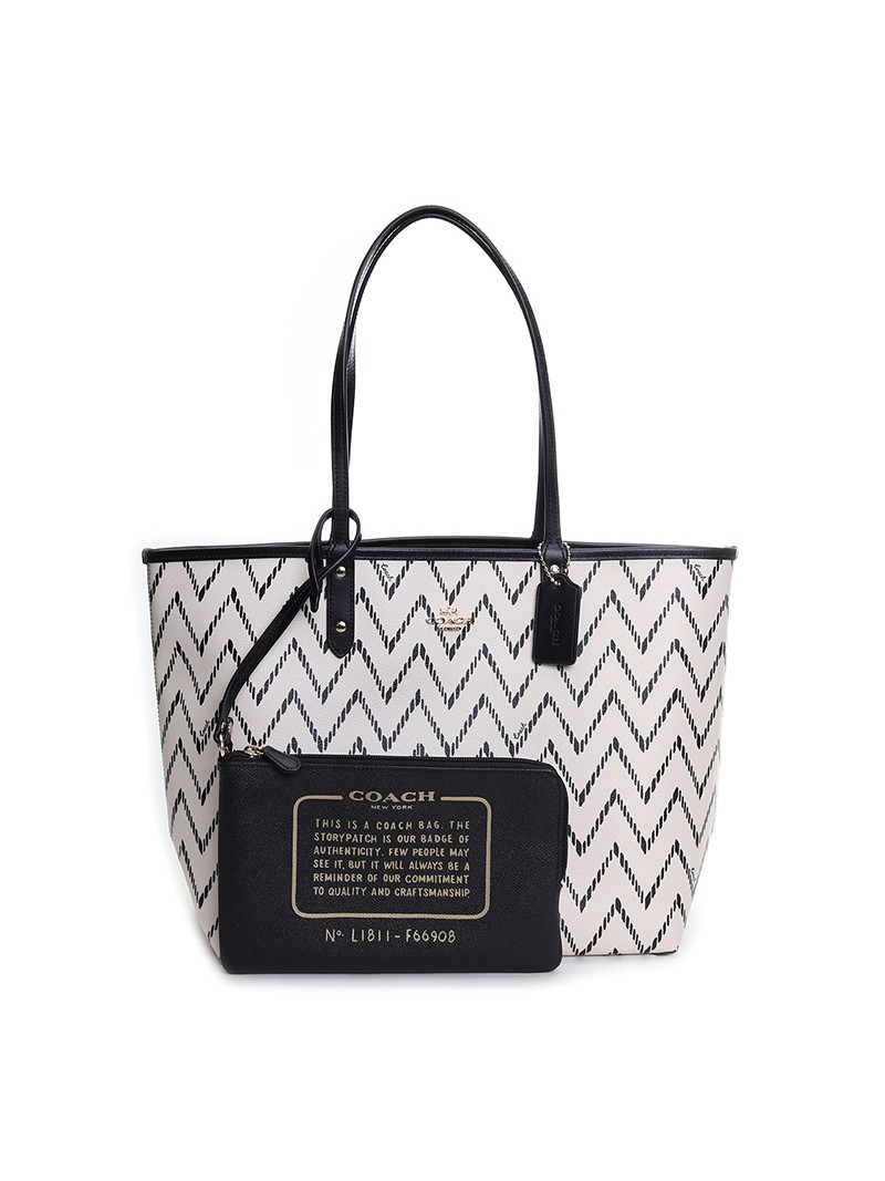 Coach City Reversible Tote with Geo Chevron Print In Signature Canvas White
