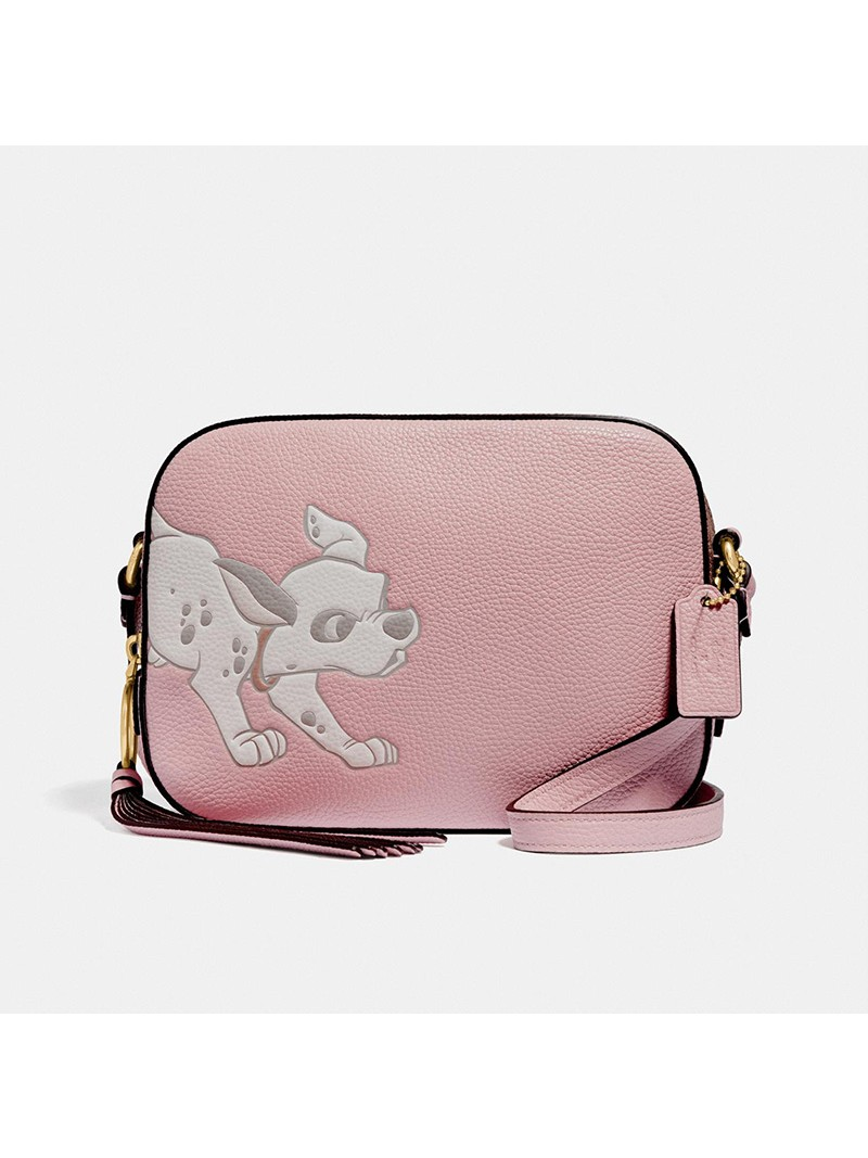 Disney x Coach Camera Bag with Dalmatian In Pebble Leather Pink