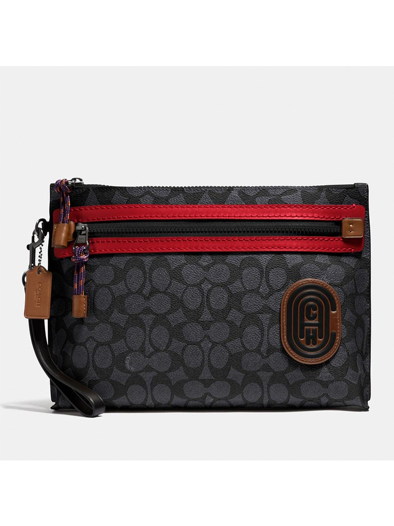 Coach Academy Pouch with Patch in Signature Canvas Black