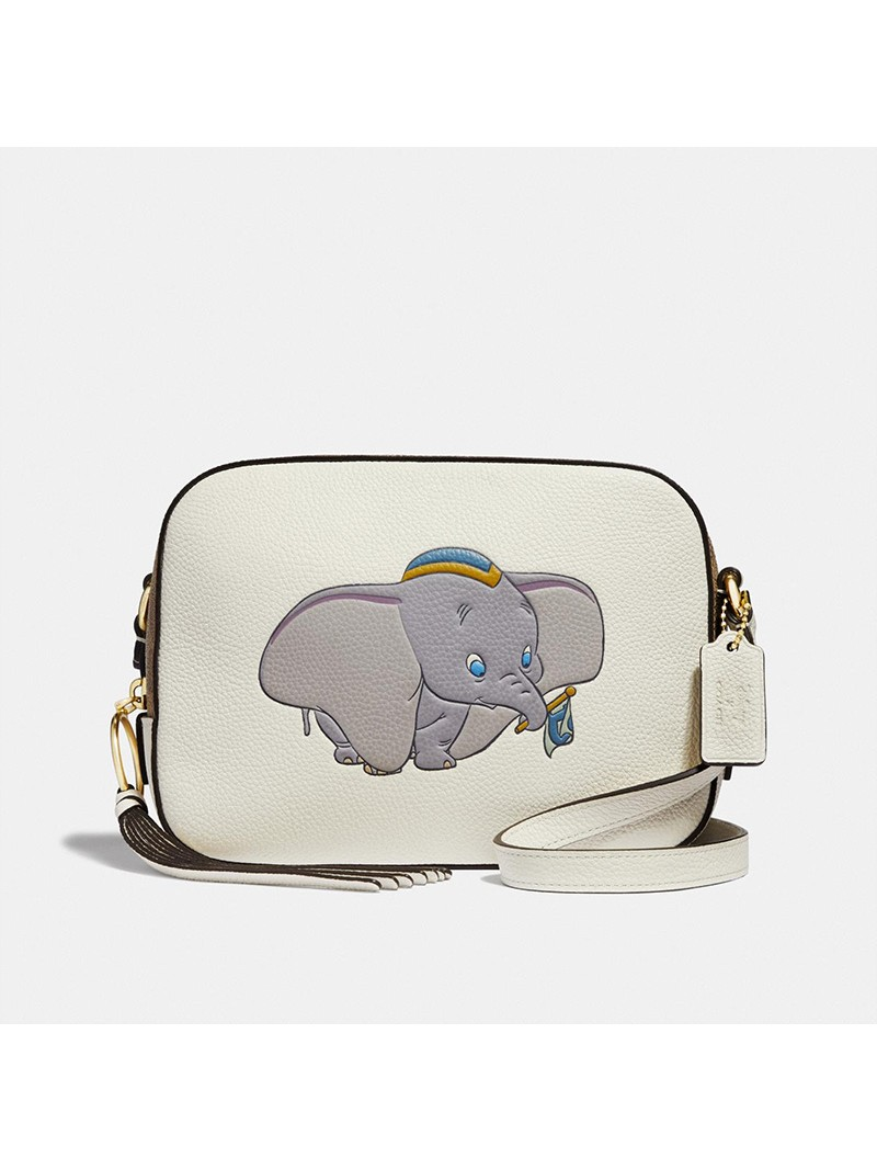 Disney x Coach Camera Bag with Dumbo In Pebble Leather White