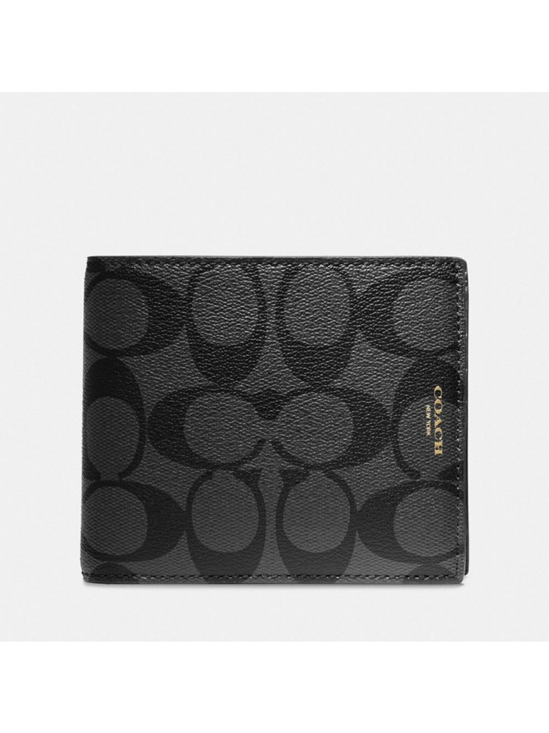 Coach Bleecker Compact Wallet In Signature Canvas Black