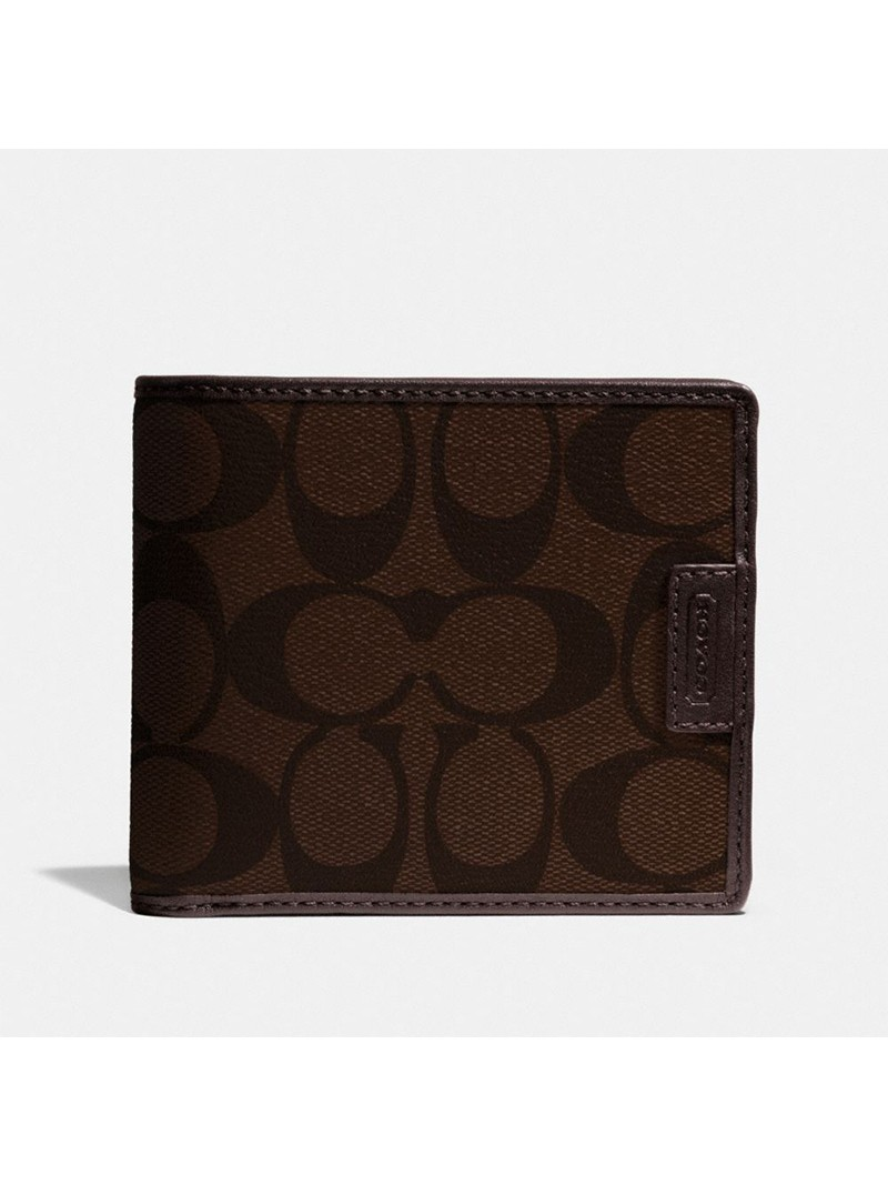 Coach Heritage Signature Compact Wallet in Signature Canvas Coffee