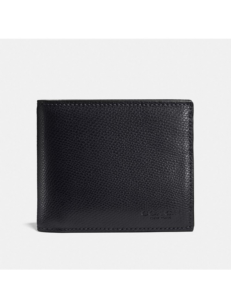 Coach Compact Wallet in Crossgrain Leather Black