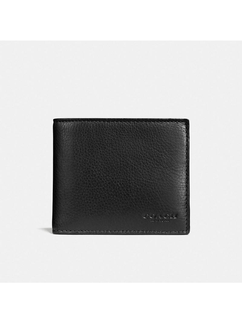 Coach Compact Wallet in Calf Leather Black