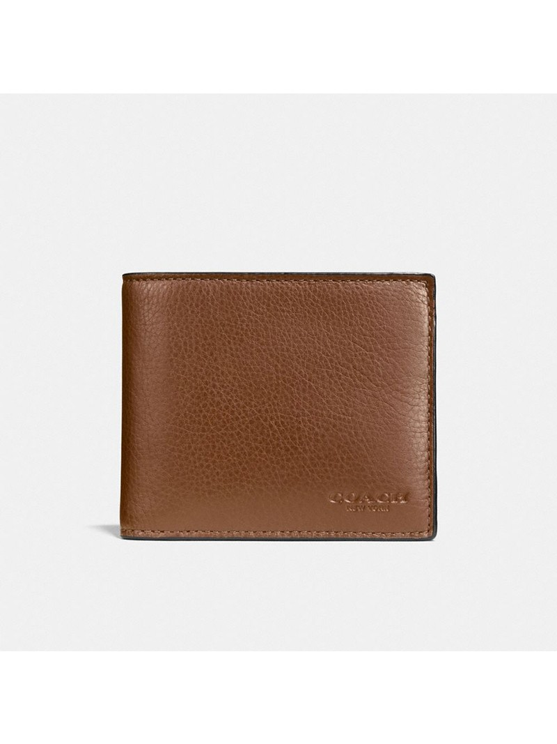 Coach Compact Wallet in Calf Leather Brown