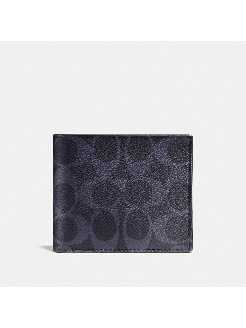 Coach Compact Wallet in Signature Canvas Navy Blue