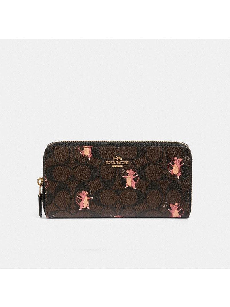 Coach Accordion Zip Wallet In Signature Canvas With Party Mouse Print Brown