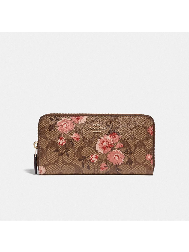 Coach Accordion Zip Wallet In Signature Canvas With Prairie Daisy Cluster Print Khaki