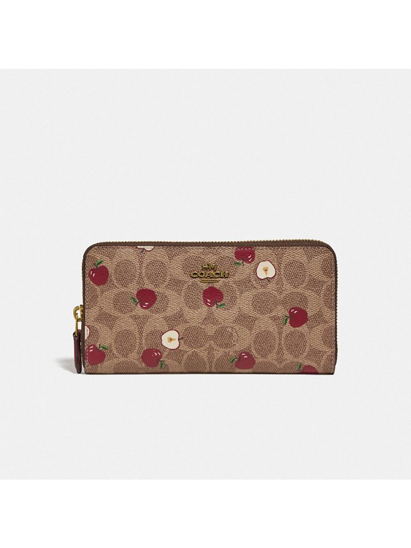 Coach Accordion Zip Wallet In Signature Canvas With Scattered Apple Print Khaki
