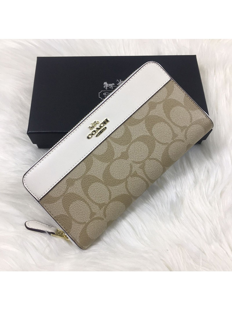 Coach Accordion Zip Wallet In Signature Canvas White
