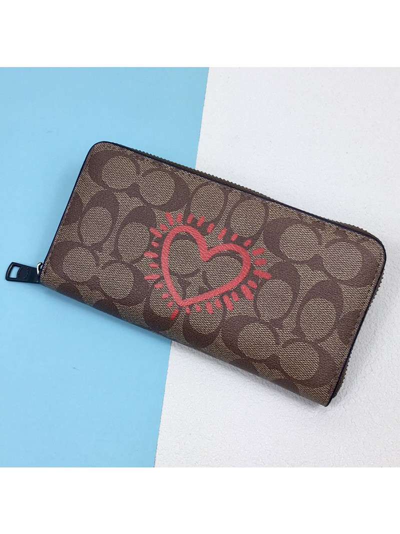 Coach Accordion Wallet with Glitter Heart in Signature Canvas Khaki
