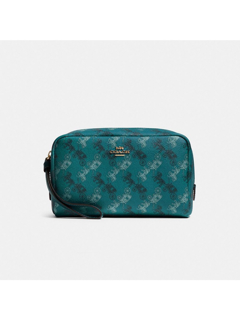 Coach Boxy Cosmetic Case With Horse And Carriage Print Green