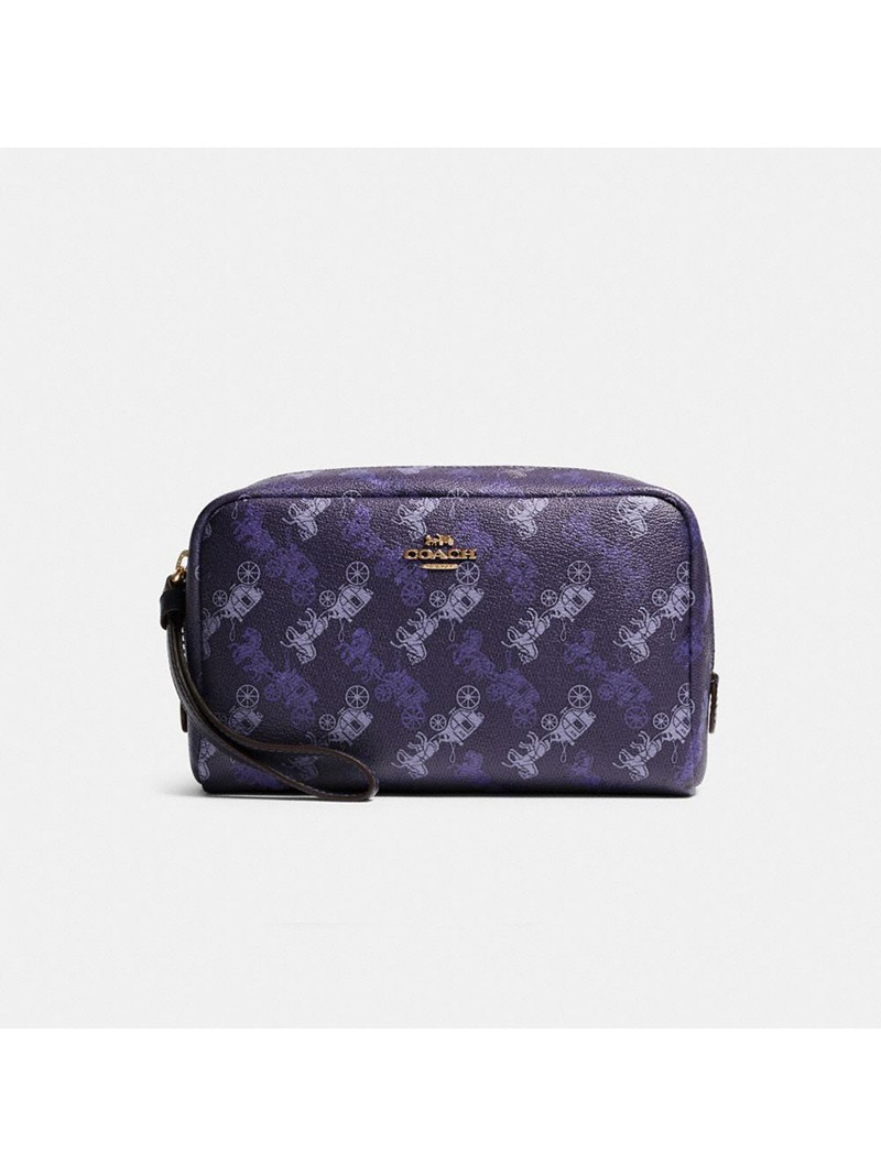 Coach Boxy Cosmetic Case With Horse And Carriage Print Purple