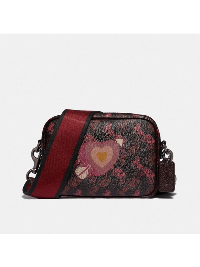 Coach Camera Bag 16 With Horse And Carriage Print And Heart Black Oxblood