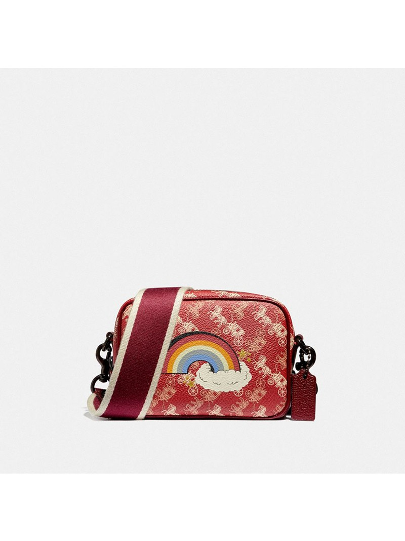Coach Camera Bag 16 With Horse And Carriage Print And Rainbow Burgundy