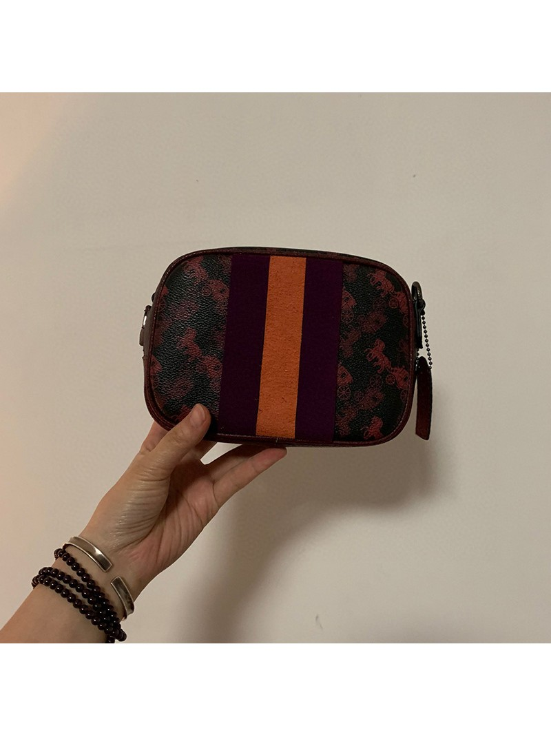 Coach Camera Bag 16 With Horse And Carriage Print And Varsity Stripe Black Oxblood