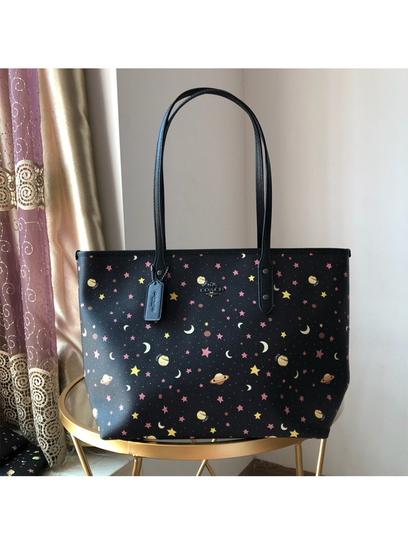 Coach City Tote with Constellation Print In Crossgrain Leather Black