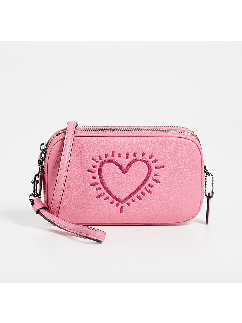 Keith Haring x Coach Crossbody Clutch with Glitter Heart in Pebble Leather Pink