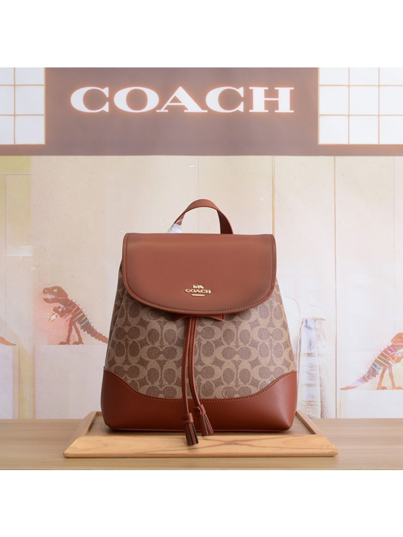 Coach Elle Backpack In Signature Jacquard Khaki