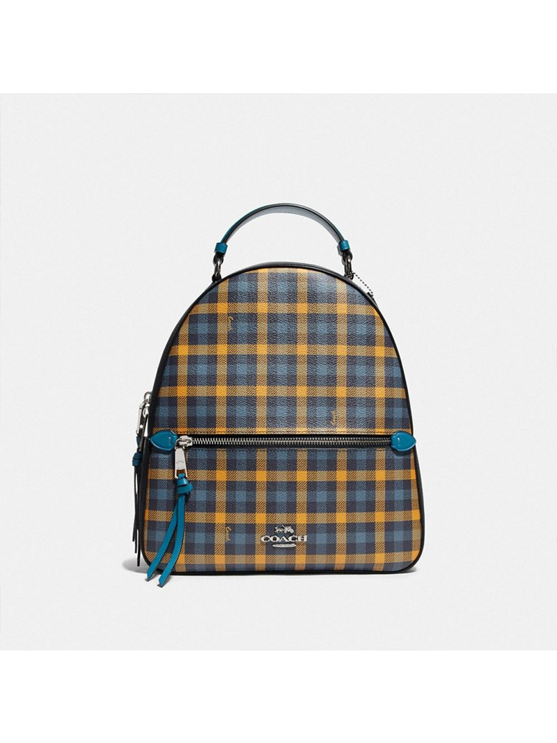 Coach Jordyn Backpack With Gingham Print Navy Blue