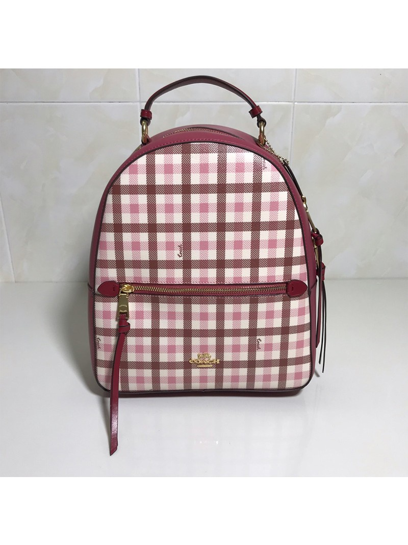 Coach Jordyn Backpack With Gingham Print Pink