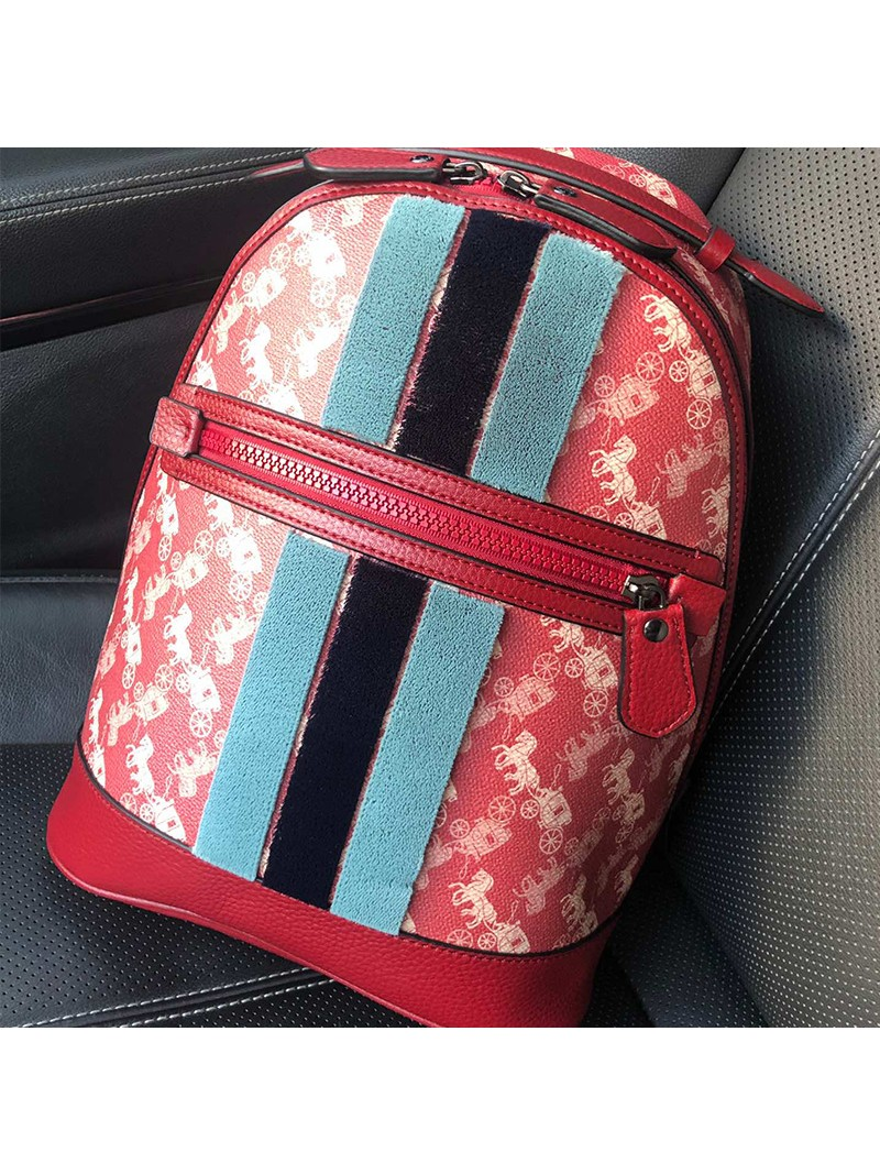 Coach Lunar New Year Barrow Backpack With Horse And Carriage Print And Varsity Stripe Red