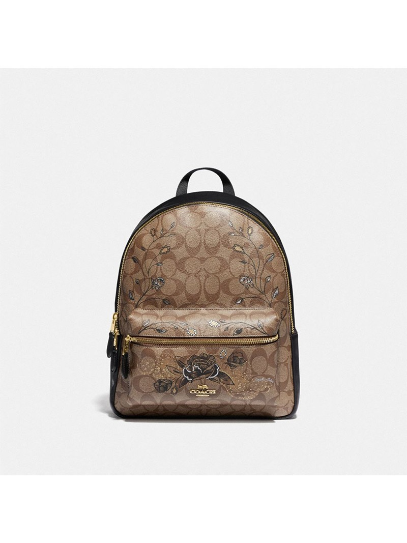 Coach Medium Charlie Backpack In Signature Canvas With Chelsea Animation Khaki