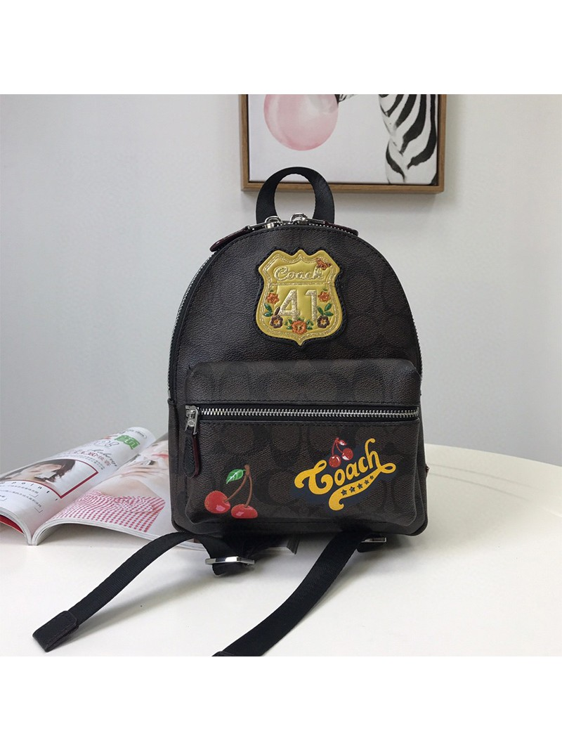 Coach Mini Charlie Signature Backpack With Patches Black