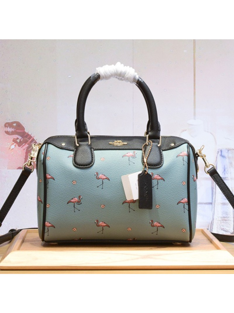 Coach Mini Bennett Boston Bag with Flamingo Print in Crossgrain Leather Sky Blue